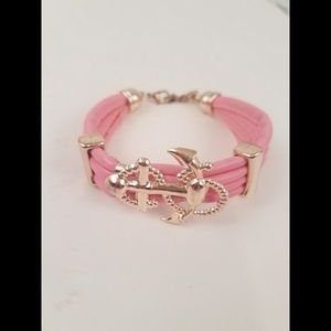Jewelry - Pink & Gold Anchor Bracelet